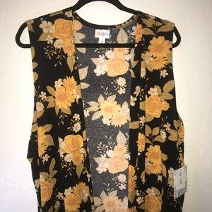 LuLaRoe Floral Joy BNWT XL Black w/ Gold Flowers